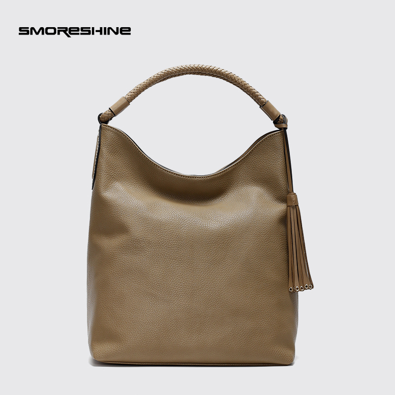 SMORESHINE High grade soft PU leather women shoulder bag Ladies weave handle design bucket handbag with tassel women Casual tote