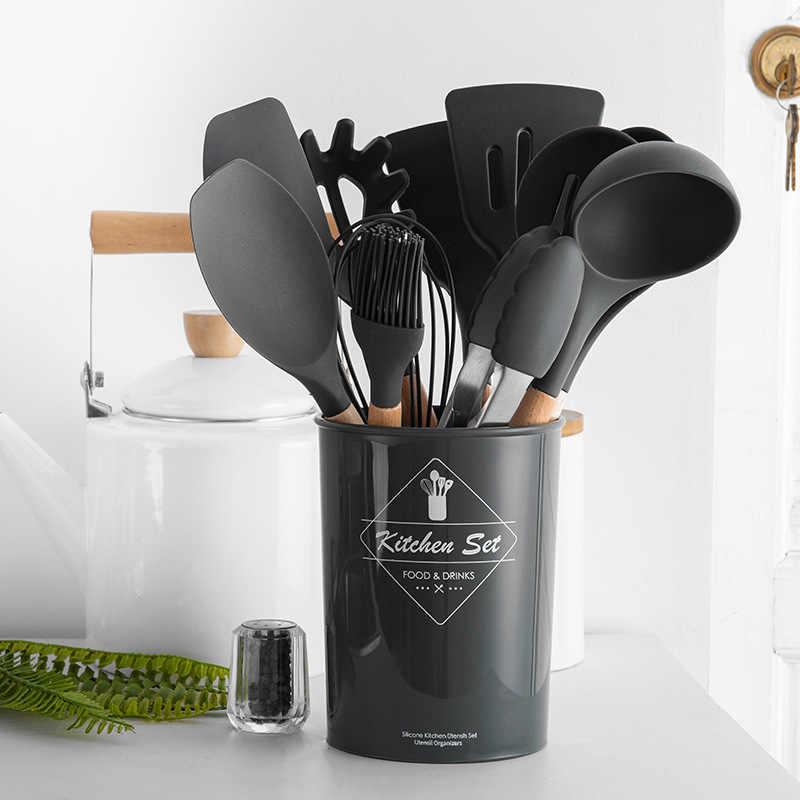 9/10/12PCS Silikon Peralatan Masak Set Non-Stick Spatula Sekop Gagang Kayu Memasak Alat Set dengan Kotak Penyimpanan Alat Dapur