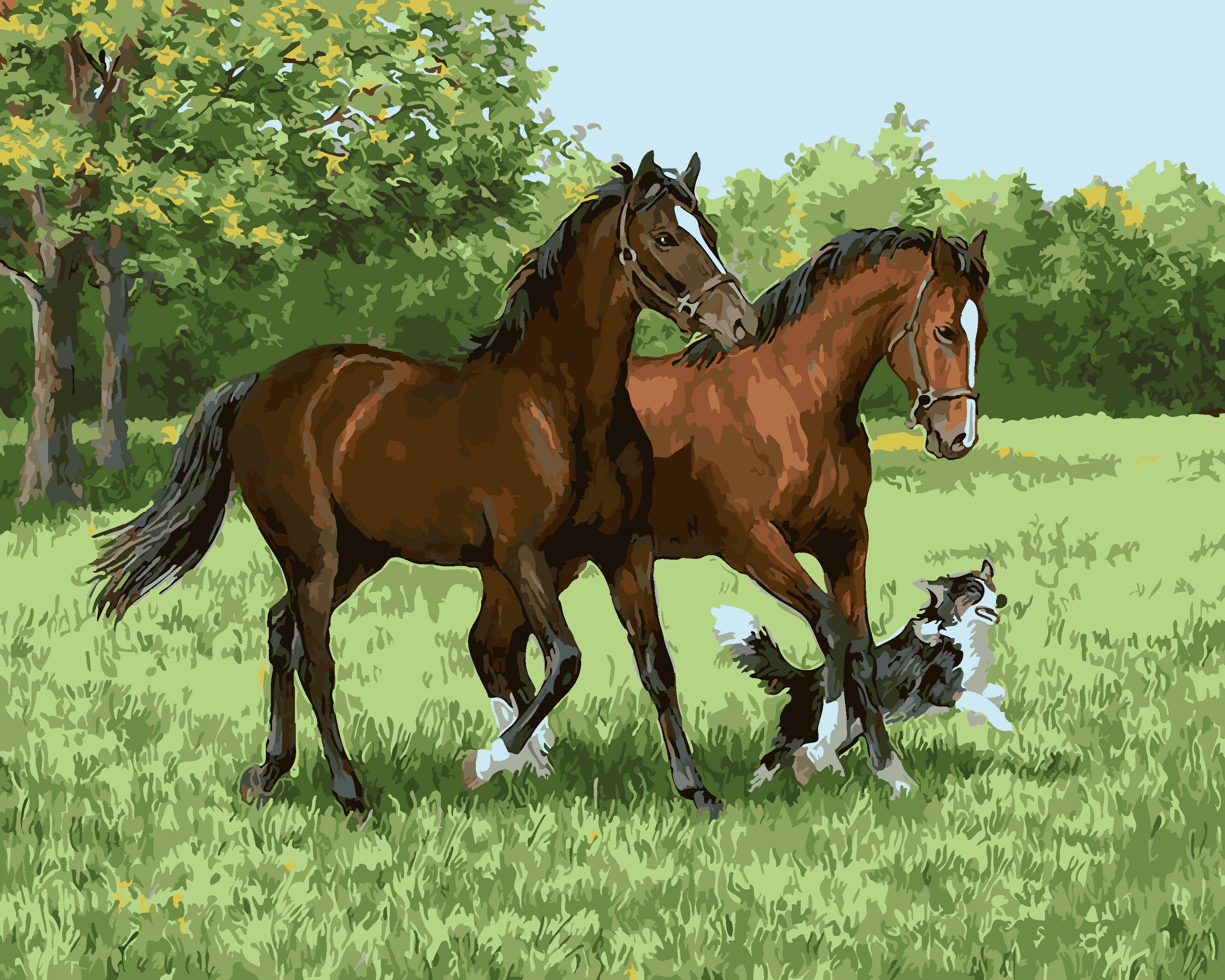 Hot Selling Horse and dog DIY oil painting Acrylic paint Crafts digital Frameless Handpainted By Numbers Kits Wall Art Picture
