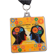 Factory Price New Design rectangle medals with ribbons Cheaper custom made Printed LOGO Medal