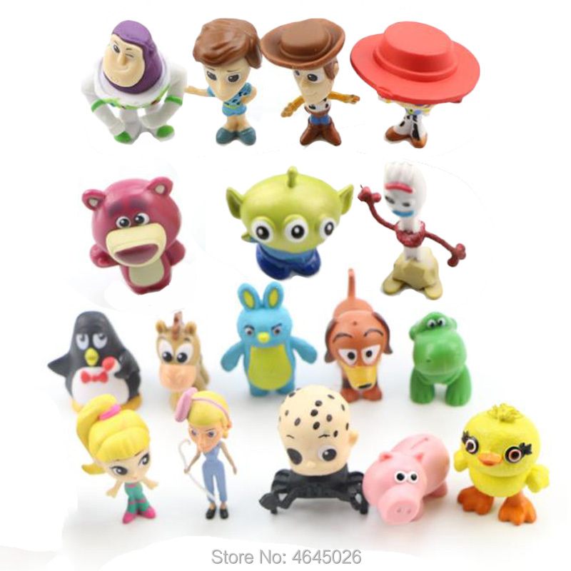Toy Story 4 Woody Ducky Forky Figures Bunny Jessie Hamm Mini Rex Slinky Dog Little Green Men Bullseye Figurines Dolls Kids Toys in Action Toy Figures from Toys Hobbies