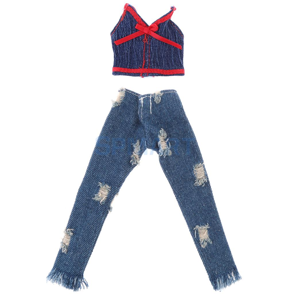 Dolls Clothes For   Doll Party Tops Shirt Camisole Ripped Denim Trouser Jeans Dress Costume Clothing denim
