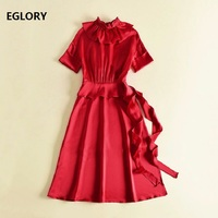 New England Style Dress 2018 Celebrity Party Women Ruffled Collar Short Sleeve Solid Red Black Dress