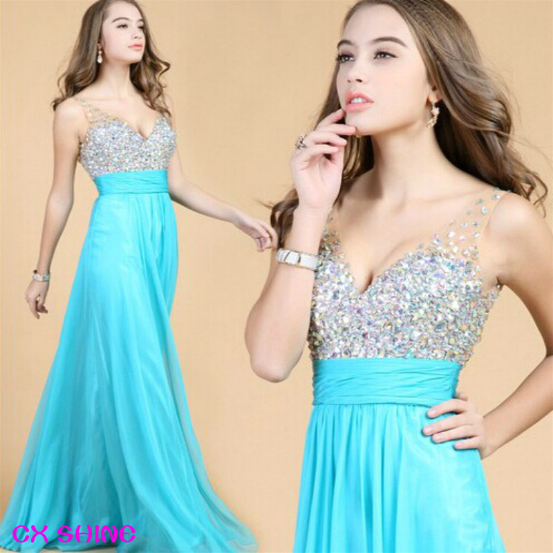 CX SHINE New Lace Sequins Crystal long Evening <font><b>dress</b></font> Chiffon prom Tank Sleeve party <font><b>dresses</b></font> Cocktail <font><b>dresses</b></font> image