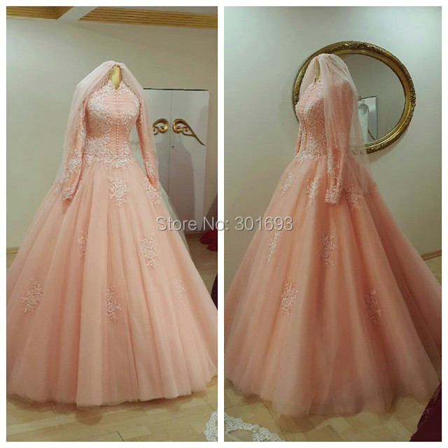 Oumeiya OW555 With font b Hijab b font Ball Gown High Neck Long Sleeve Pink Color