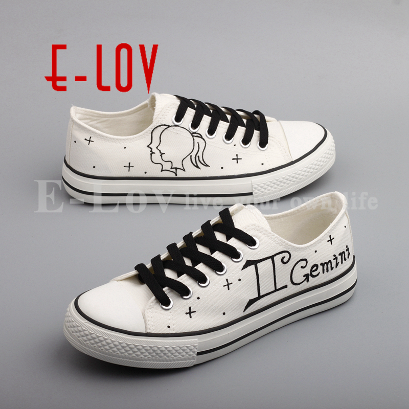 E-LOV Personality Graffiti Gemini Constellation Canvas Flat Shoes Hand Painted White Flat Shoes Women sapatilha e lov hand painted graffiti horoscope canvas shoes custom luminous graffiti gemini casual flat shoes women zapatillas mujer