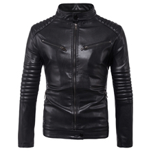 European and American Style Mens Biker Leather Jacket and Coats Vintage Style Side Pockets Design Male Leather Jacket 5XL C1108