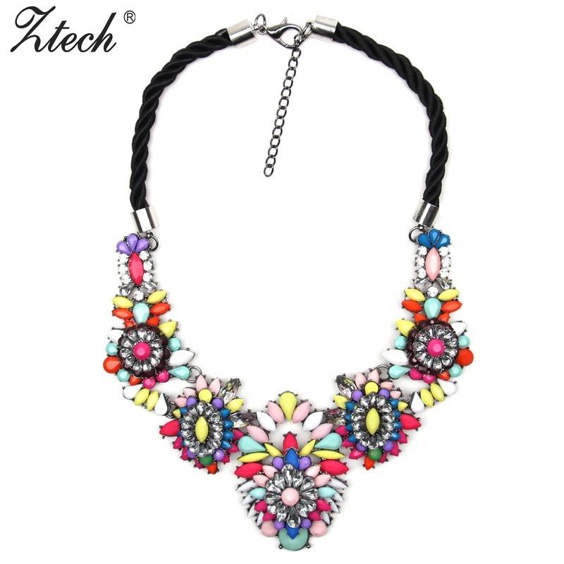 New 2016 fashion brand jewelry luxury Braided rope crystal necklace women Flower vintage bib statement necklaces