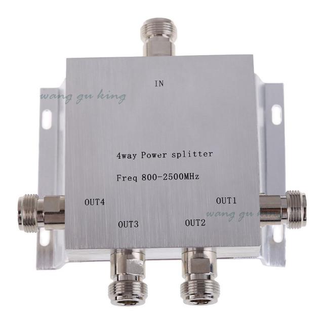 4-Way Fêmea N Poder Divisor Splitter 800-2500 MHz para GSM CDMA 2G 3G PCS Impulsionador do Sinal Divisor de impulsionador Repetidor