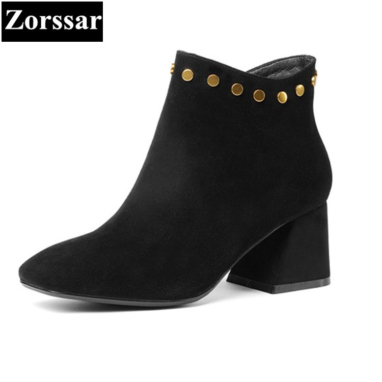 {Zorssar}2018 NEW fashion rivet High heels Women Boots Kid Suede Square Toe thick heel ankle boots autumn winter female shoes zorssar brands 2018 new arrival fashion women shoes thick heel zipper ankle chelsea boots square toe high heels womens boots