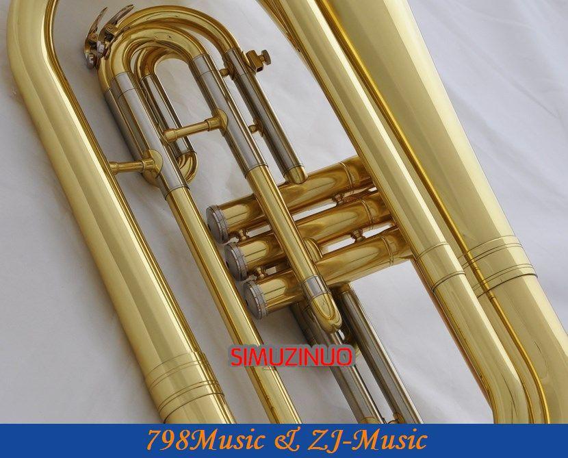Профессиональные золотые марширующие баритоны монельные клапаны Bb ключи рог с чехлом