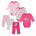 6 PCS Conjunto de Roupas de Bebê Menino de Manga Longa Bodysuits + Calças Do Bebê Meninas Roupas Set 100% Algodão Bebê Recém-nascido Roupas
