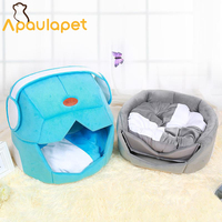 APAULAPET 2 In One Dog House Warm Space Cap Dogs Bed Gray Pets Mat Sleeping Supplies For Teddy Pomeranian Poodle