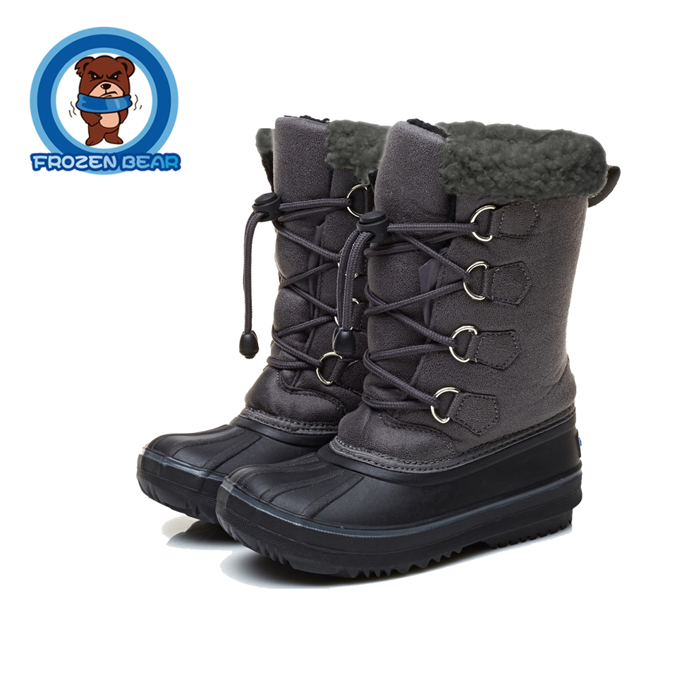 Fur Toddler Snow Soft Warm Boots Winter Gray Brown Mid-calf Kids Shoes Little Girls Boys Infant Boot Waterproof Baby  KT903-911B