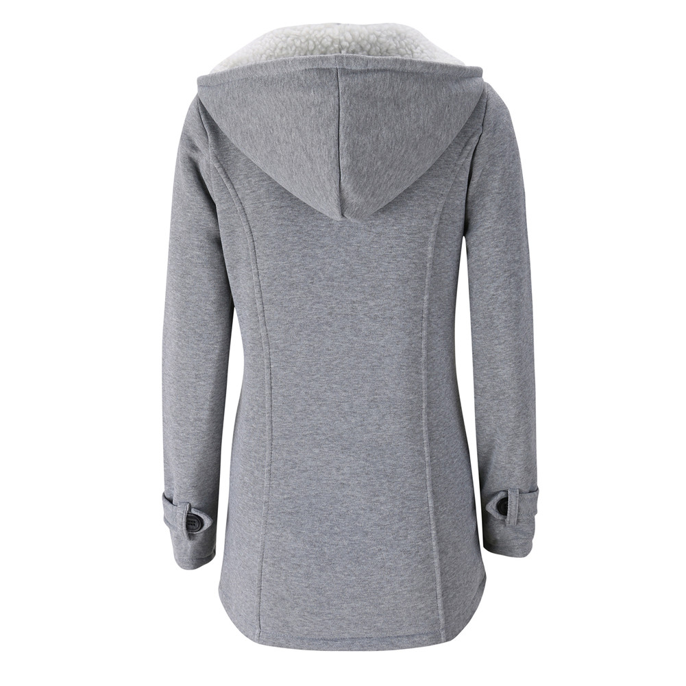 Jacket Coat Winter Women 2019 Hooded Wool Blend Praka Classic Horn Leather Buckle Coat Slim For Ladies Winter Jacket Woman Parka 5