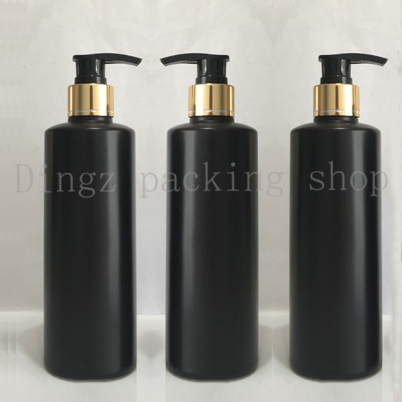20X300ml black cosmetic body lotion container with aluminum pump gold collar lotion shampoo bottle cosmetic packaging