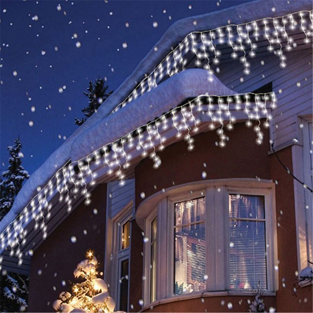 Curtain christmas lights - Kmashi Connectable 5m Led Curtain Icicle String Lights Led Fairy Twinkle Christmas Lamp Icicle Light Wedding
