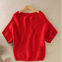 Korean Fashion A Collar Sweater Cashmere Women Off Seasons Bat Shirt Short Sleeve Is Thin Sweater