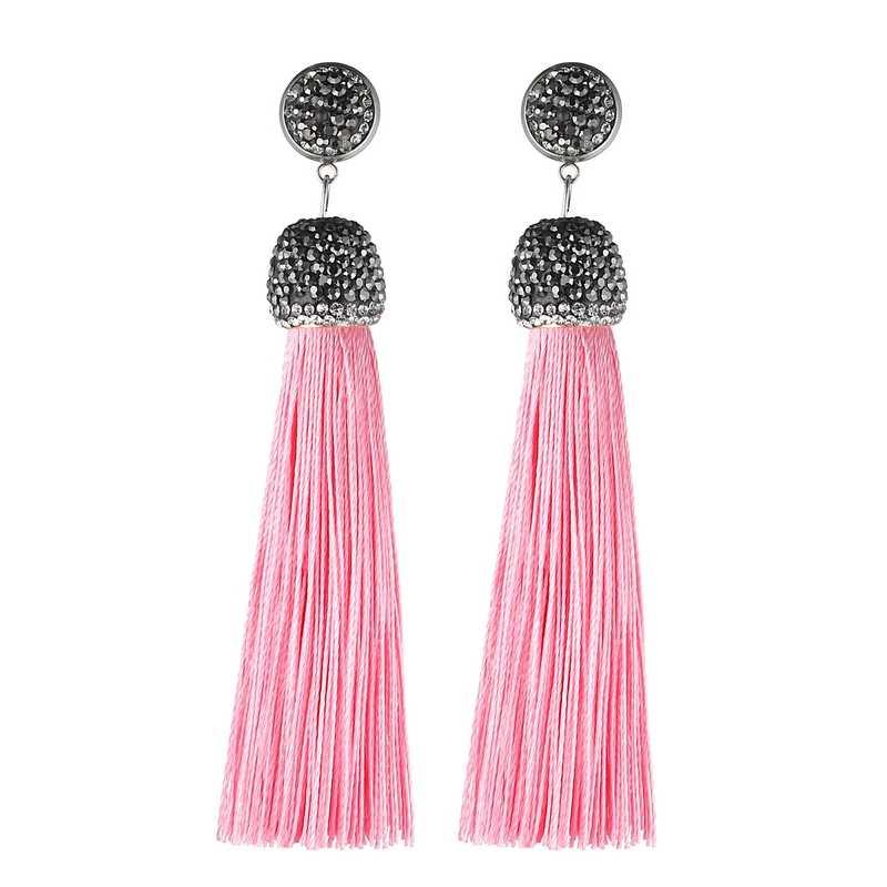 Lovbeafas Laporan Hitam Panjang Rumbai Anting-Anting untuk Wanita Merah Pink Biru Putih Ungu Fringe Kristal Pernikahan Anting-Anting Perhiasan