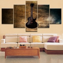 5 Pieces Top-Rated HD Printing Retro Classic Poster Music Guitar Painting Type Framework Home Decorative Modern Bedroom