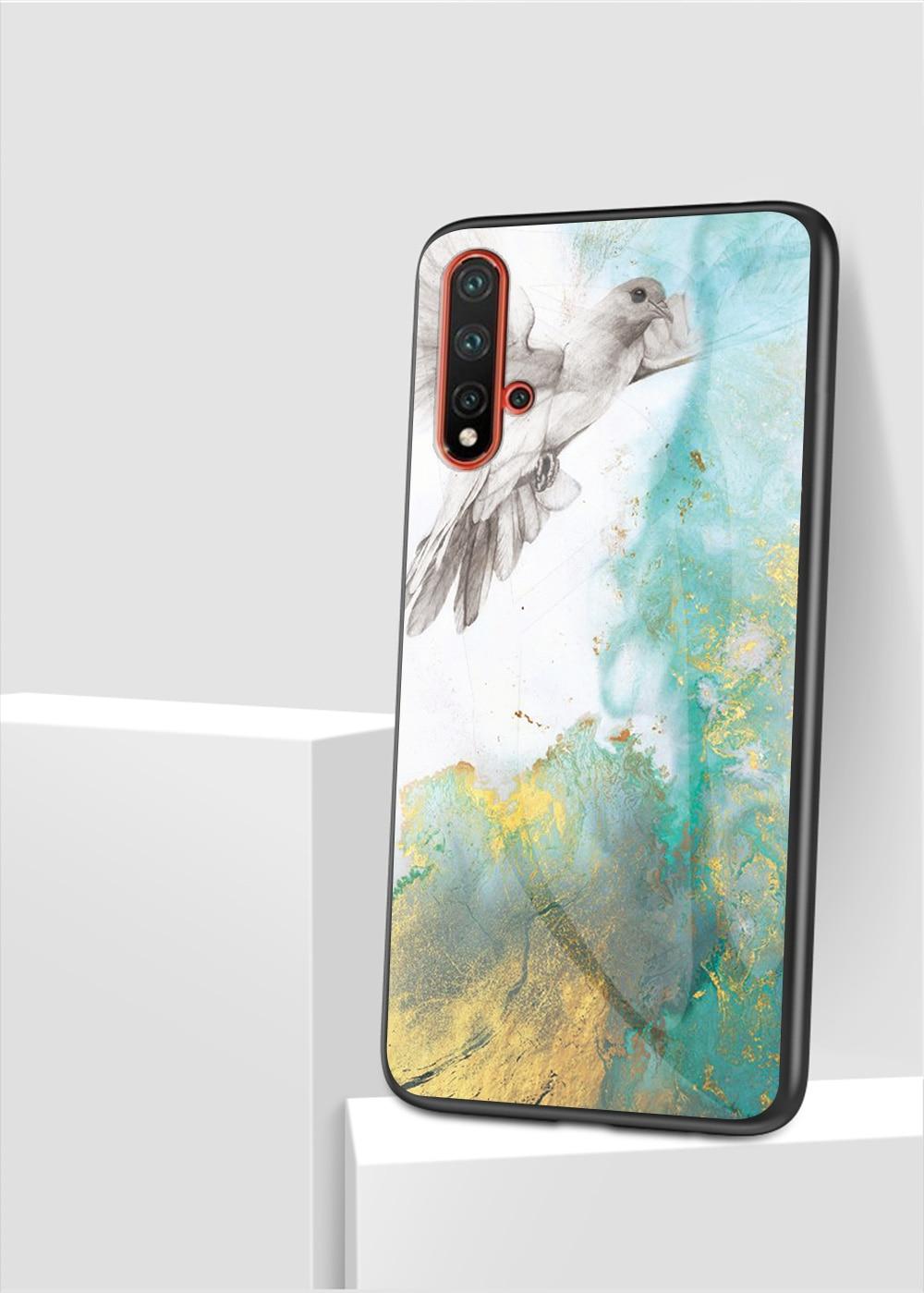 100pcs lot Marble Pattern Tempered Glass Soft TPU Frame Case For Huawei P20 Lite 2019 Nova