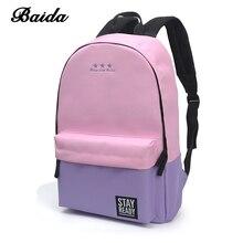 BAIDA Canvas Girl School Backpack Women Teen Schoolbag Backpacks Female Portfolio Teenagers School Bags For Teenage Boys Girls