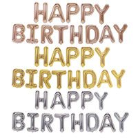 ZT Happy birthday party decorations kids letter 16 inch rose gold imitation beauty thin aluminum balloon JJ QQ7