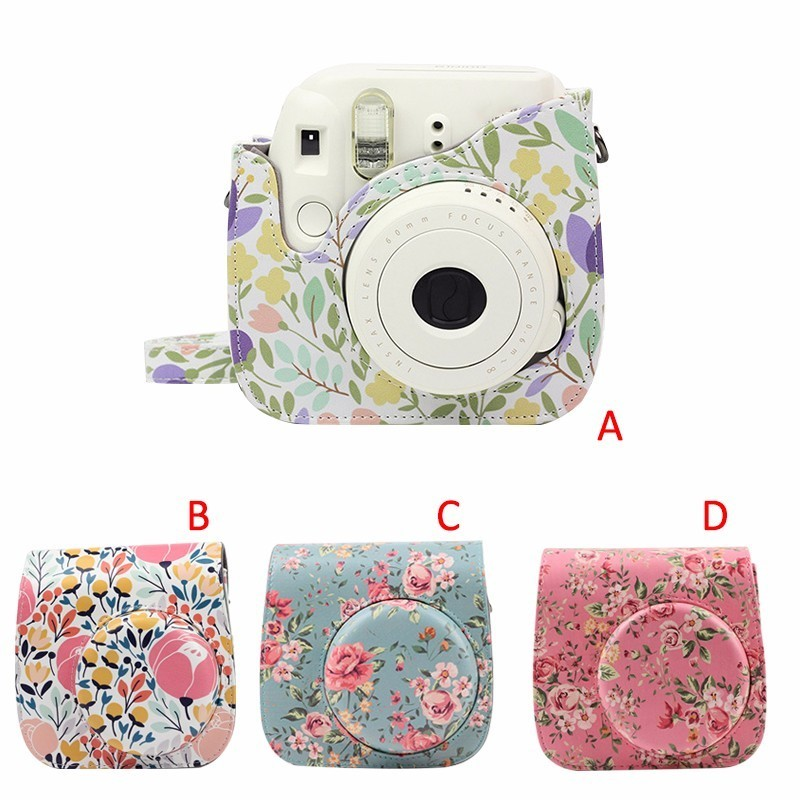 Shoulder Camera Bag Protective Case Colorful Forest Patterns Leather Camera Bag for Fujifilm Instax Polaroid Mini 8/ MINI8+/ 9