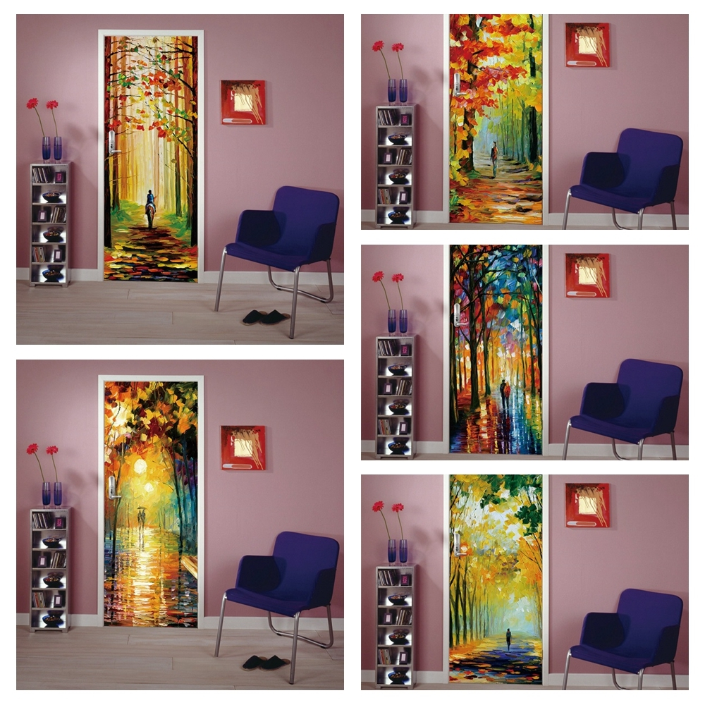 Home Decor Decal PVC Waterproof Art Abstract Forest Scenery 3D Print Sticker Self Adhesive Diy Paper For Bedroom Door Sticker