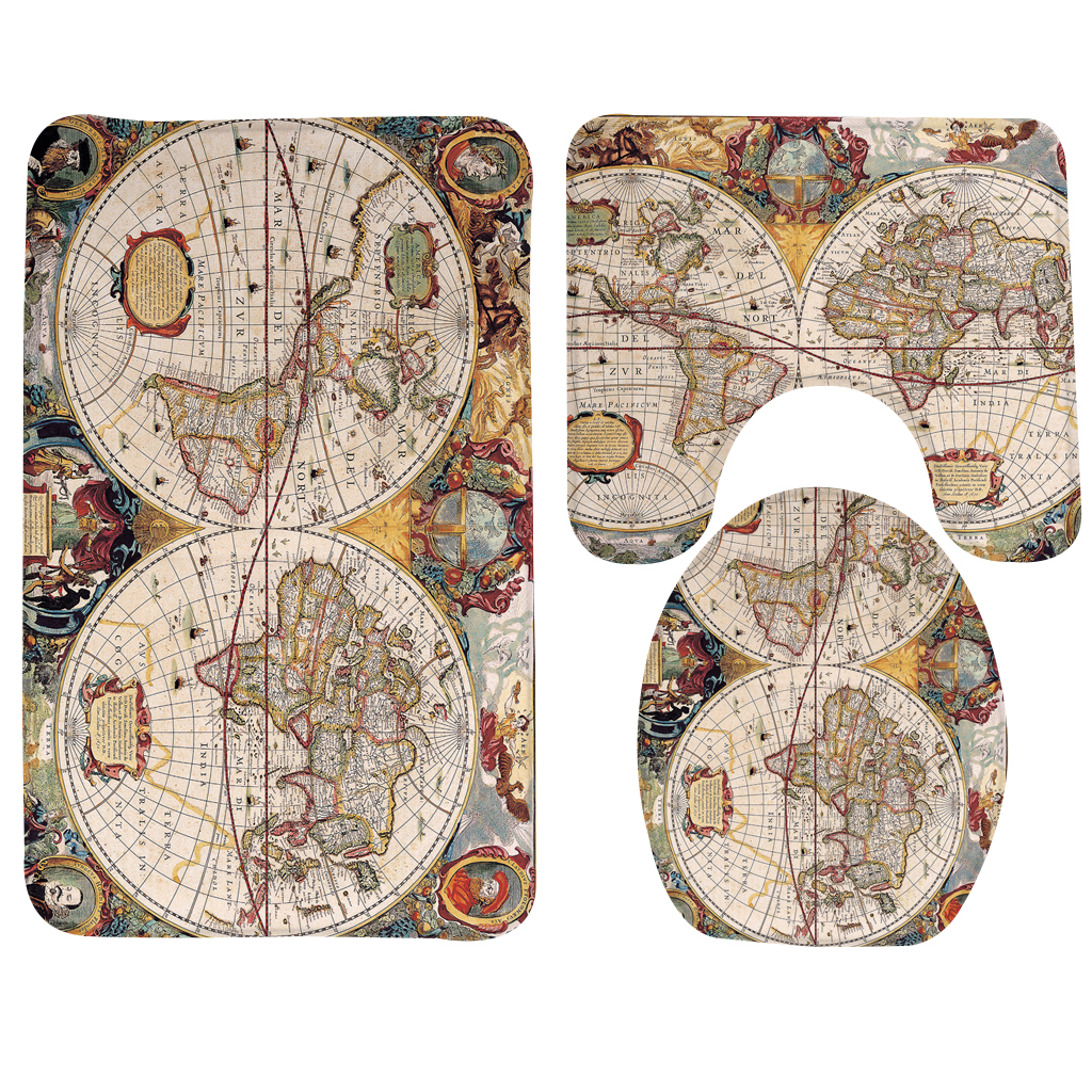 3pcs Bathroom Mat Set Map Old World Map Cartography