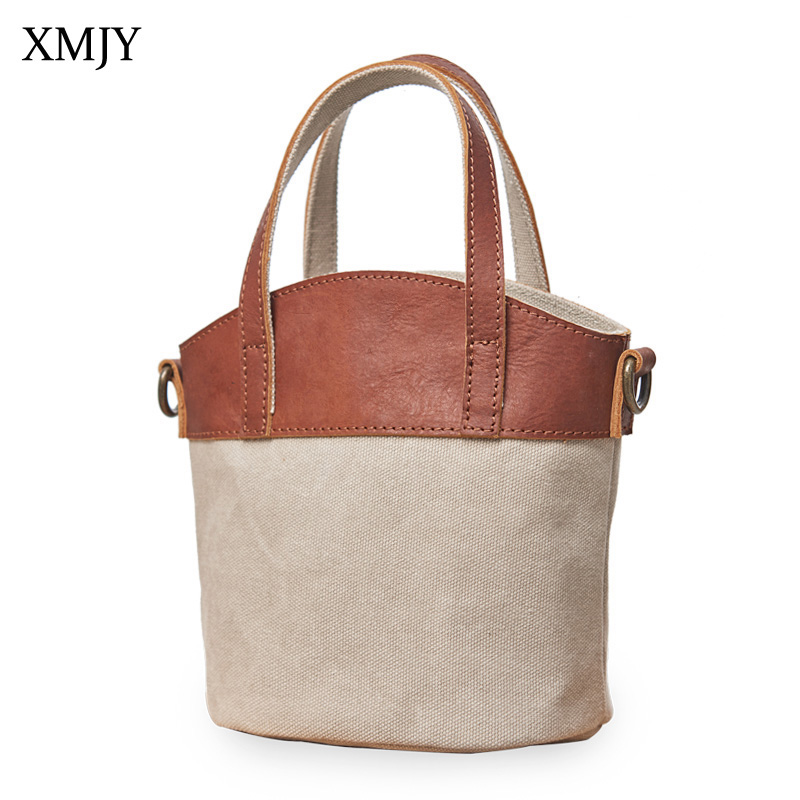 XMJY Women Bucket Mini Bags Canvas With Leather Small Shoulder Bag Casual Stylish Vintage Handbags For Lady Crossbody Travel Bag stylish women s crossbody bag with solid