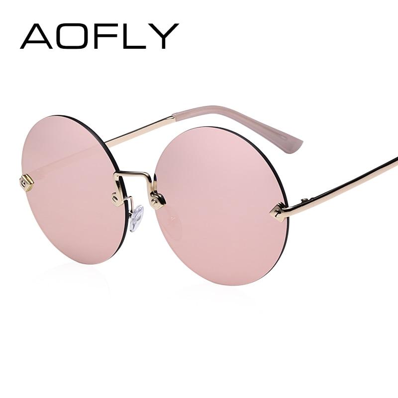 AOFLY Ronde Randloze Zonnebril Dames Vintage Zonnebril Dames Vrouwelijk Merk Design Mirrored Lens UV400 Glazen lunette de soleil