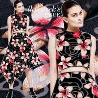 French imported fashion show fashion jacquard pink flower fabric high end Jacquard Dress cheongsam cloth jacquard