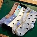 New brand Star straight Triangle pattern women socks Sweat absorbent ladies cotton socks 5 pairs/lot