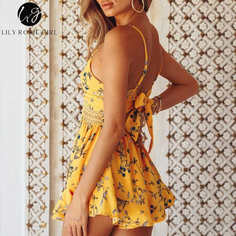 a6817728f0a9 ... Lily Rosie Girl Yellow Lace V Neck Boho Women Playsuit Spaghetti Strap  Beach Summer Playsuit Print ...