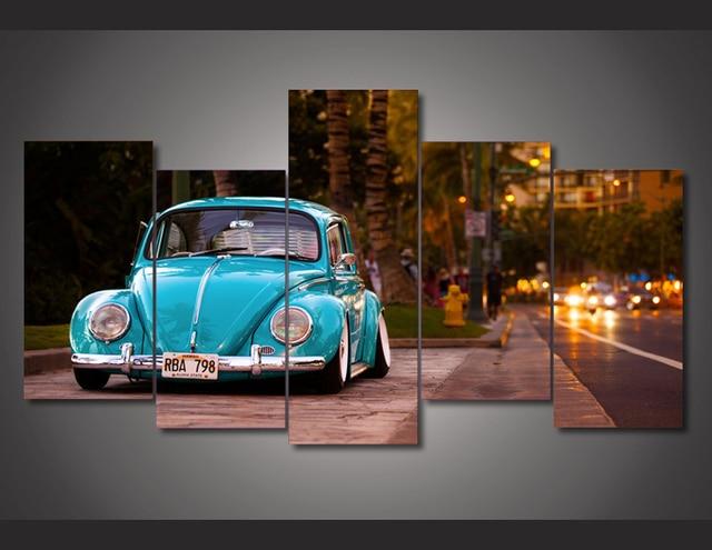 5 Piece Home Decoration Canvas Prints Volkswagen Beetle Car Hd