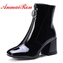ANMAIRON Leather Women Ankle Boots For Women Shoes New Square Toe High Boots Black Beige Martin Boots Zipper Thick heels CR670 fedonas brand black ankle boots for women high heeled martin genuine leather shoes woman square toe buckles motorcycle boots