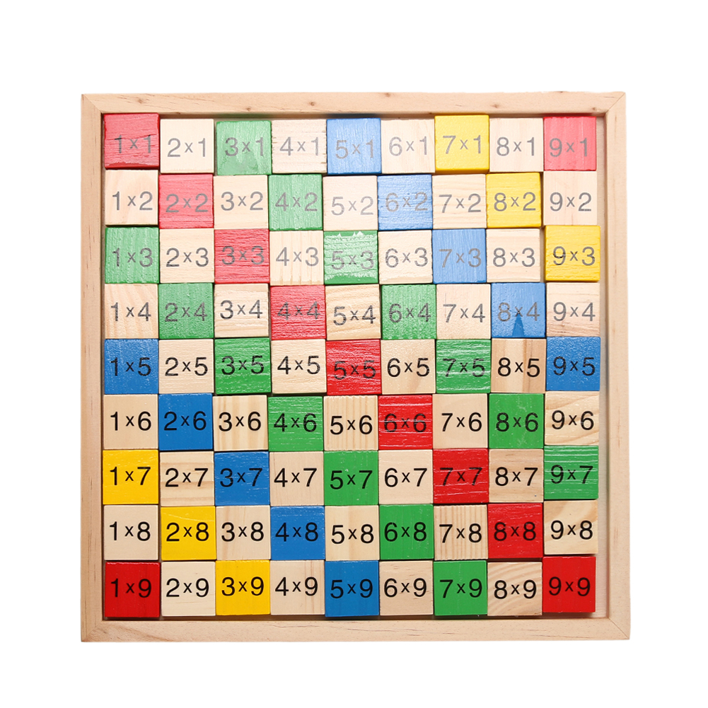 Wooden Math Dominoes Toy Double Side Printed Multiplication Table Pattern Board Children Educational Kids Wooden Math