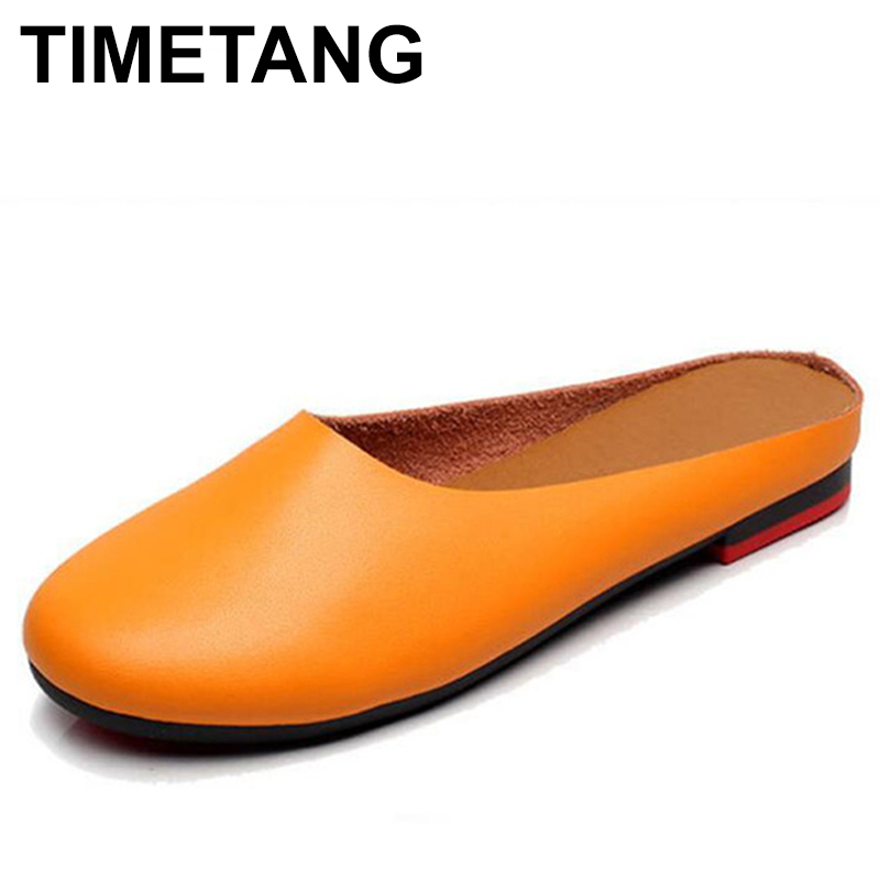 TIMETANG  Size 34 -43 Handmade Genuine Leather Women Shoes Fashion Women Slippers Casual Shoes Peas Non-Slip Outdoor C216