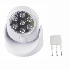 Image 2 - 6V 7 led akülü hareket aktif sensörlü ışık lambası 360 derece rotasyon duvar lambaları beyaz sundurma işıkları kapalı dış aydınlatma