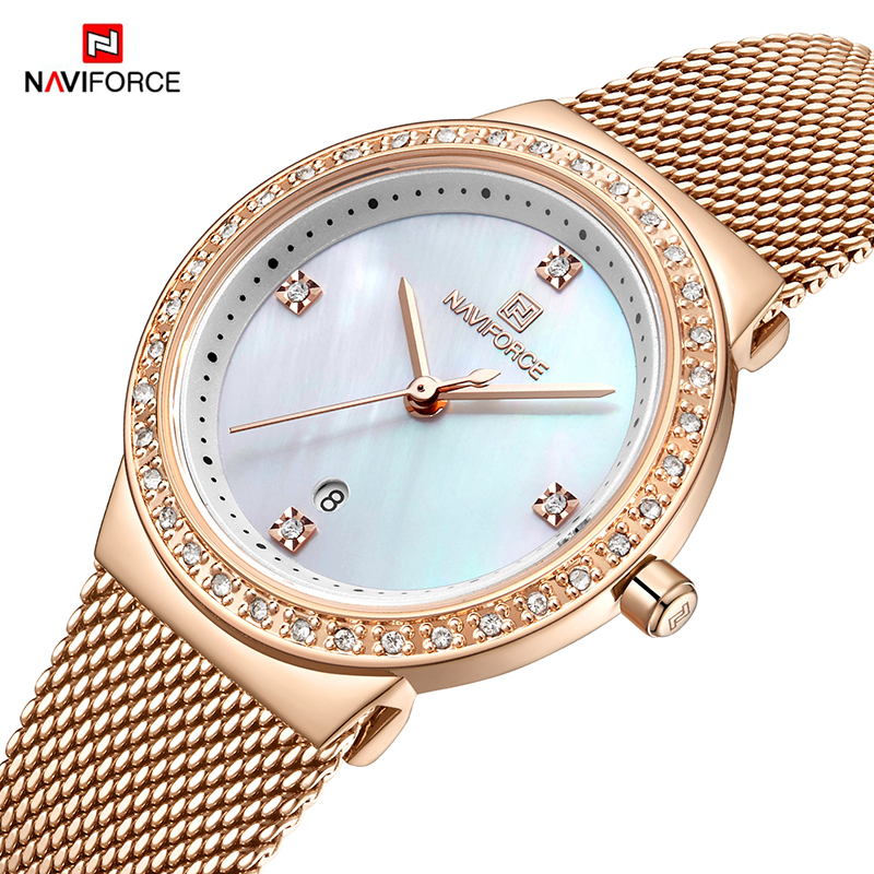 NAVIFORCE New Women Luxury Brand Watch Simple Quartz Lady Waterproof Wristwatch Female Fashion Casual Watches Clock Reloj Mujer(China)