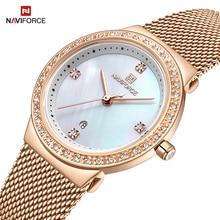 NAVIFORCE montre à Quartz Simple de marque de luxe pour femmes, bracelet étanche, à la mode, nouvelle collection décontracté