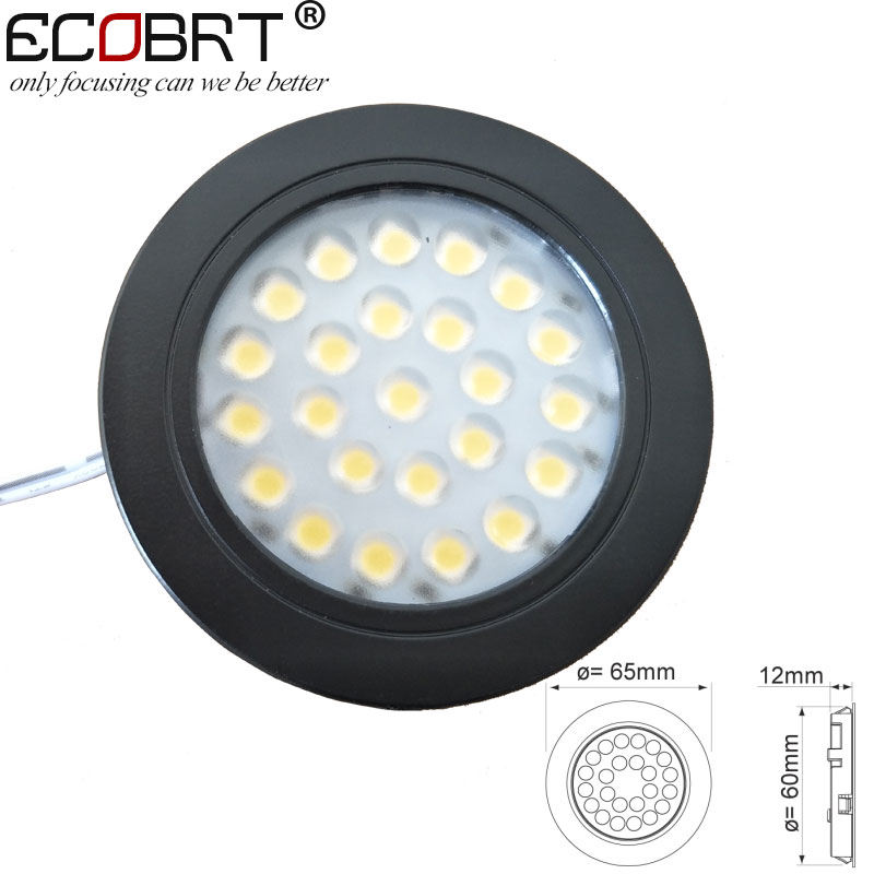 ECOBRT Dimmable 12V led Spot light Black recessed Round Under Cabinet lights 2W in Kitchen wine cabinet 6pcs/lot Under-cabinet lighting