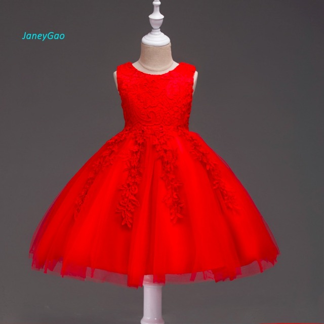 c1430b53538 JaneyGao Flower Girl Dress For Wedding Party 2018 New Fashion Princess Little  Girl Formal Dress Red