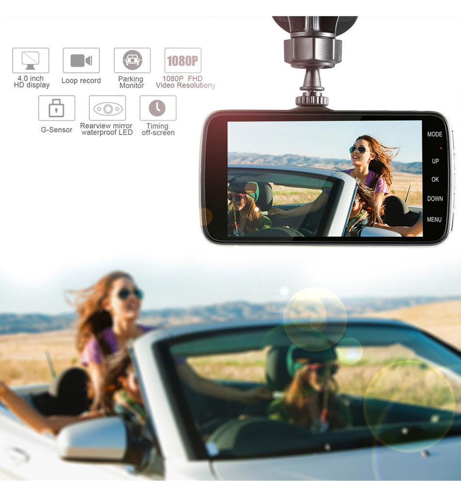 4 inch 1080P HD Car DVR Camera with Dash Cam Video Recorder Night Vision G-sensor IPS Auto Rear View Screen Free Shipping