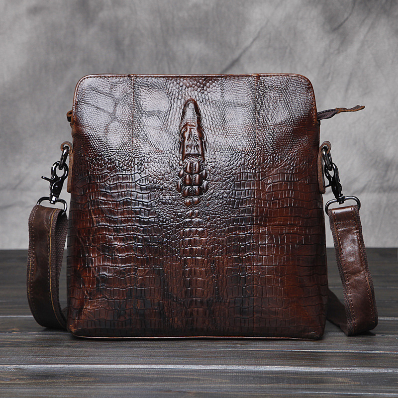 ФОТО The First Layer of Cowhide Leather Messenger Bags New Men Crocodile Leather Shoulder Bag Vintage Man Bag