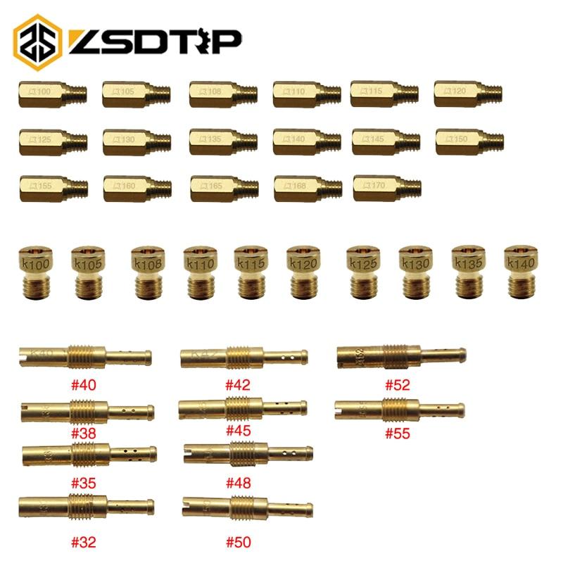 ZSDTRP 10pcs Motorcycle Carburetor Main Jet Kit Set Slow/Pilot Jet Main Injectors Nozzle For PWK PE Mikuni OKO Keihin KOSO Carb