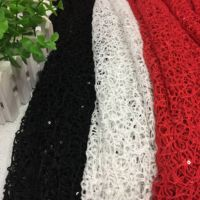 Knitted Embroidered Sequin Net Spider Web Lace Fabric DIY Dress Cloth Home Decor Material telas de algodon para patchwork