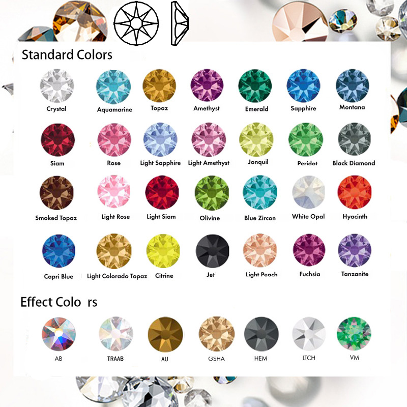 SW Diamante NENHUM Hotfix Strass CZ 8Big 8 Pequeno Strass SS10 ~ SS40 Elementos DIY Plano voltar Pedrinhas Para Unhas roupas Decoração