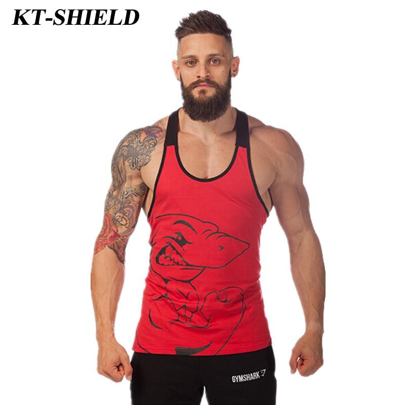 Hot Sale Shark Fitness Tank Tops Men Bodybuilding clothing stringer Sleeveless Shirt Men Vests Cotton Undershirts